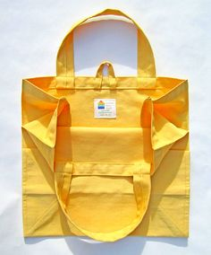 Reusable Grocery Bag Washable Cotton Twill Yellow
