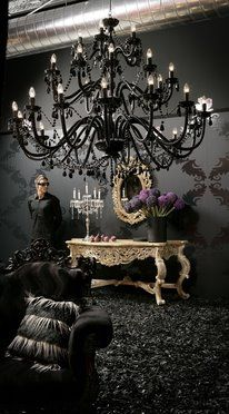 Black chandelier - love the drama. Exactly what I want for the formal dining room!!!