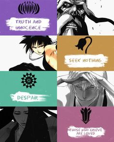 Yamamoto Genryuusai Captain of the diviosion - Truth and innocence, Soi Fon Captain of the division - Seek nothing, Ichimaru Gin Captain of the division - Despair, Unohana Retsu Captain of the division - Those who grieve are loved Sad Anime, Me Me Me Anime, Manga Anime, Anime Art, Bleach Art, Bleach Manga, Ichimaru Gin, Departed Soul, Bleach Characters