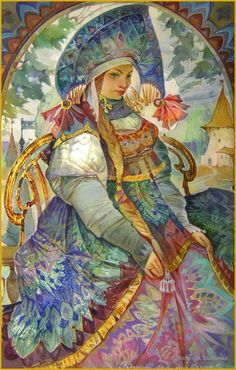 Michail Shelukhin. Lacquer art from Fedoskino. Марья Маревна.