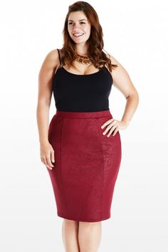 Plus Size Tonal Shift Lace Pencil Skirt