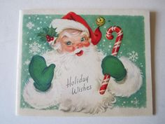 Vintage 1957 Santa Claus Christmas Card Candy Cane Holly Jingle Bells Snow | eBay