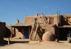 """Taos Pueblo, New Mexico - Andy New  """"Its primary purpose was for defense.[7] Up to as late as 1900, access to the rooms on lower floors was by ladders on the outside to the roof, and then down an inside ladder. In case of an attack, outside ladders could easily be pulled up."""" (Wikipedia) """"The homes in this structure usually consist of two rooms, one of which is for general living and sleeping, and the second of which is for cooking, eating, and storage."""""""