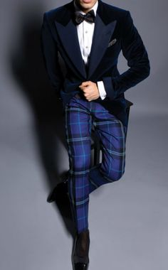 Midnight blue tuxedo, bow-tie and tartan trousers. Great Christmas party outfit or for a bold, contemporary twist on the formal black tie