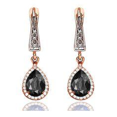 Black Diamond Earrings, 14K Rose Gold Earrings, 2.60ct Black Diamond... (2,175 CAD) ❤ liked on Polyvore featuring jewelry, earrings, 14k rose gold earrings, earring jewelry, rose gold earrings, black diamond jewelry and 14k jewelry