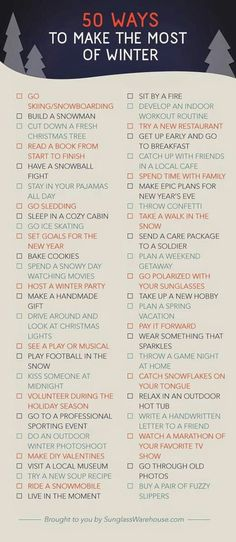 50 things to do in winter-hopefully someday I won't have to live in such a harsh winter environment! Especially if you live in Colorado Cadeau Surprise, Winter Fire, Just Dream, Nouvel An, Winter Activities, Indoor Activities, Family Activities, Yule, Winter Christmas