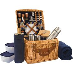 Picnic Time Canterbury Picnic Basket for Two ($230) ❤ liked on Polyvore featuring home, kitchen & dining, food storage containers, picnic hamper, picnic basket, picnic time baskets, picnic cooler and picnic time picnic basket