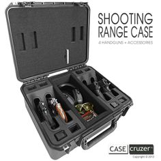 Shooting Range Handgun Case - The perfect gift for the gun aficionado in your life. http://www.casecruzer.com/gun-cases/shooting-range/qdsr-handgun-4pack.html
