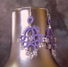 Earrings . Beads . Lace . Tatted . FREE shipping by LacyTreasures, $29.00 www.LacyTreasures.Etsy.com