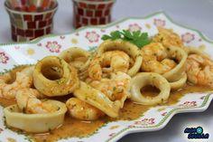 Comparte Recetas - Calamares en salsa de langostinos