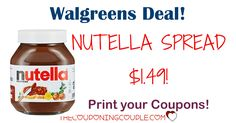 AWESOME WALGREENS DEAL! Grab Nutella Spread for only $1.49 per jar (reg $4.29!) PRINT YOUR COUPON NOW!  Click the link below to get all of the details ► http://www.thecouponingcouple.com/1-501-nutella-spread-coupon-walgreens-deal/ #Coupons #Couponing #CouponCommunity  Visit us at http://www.thecouponingcouple.com for more great posts!