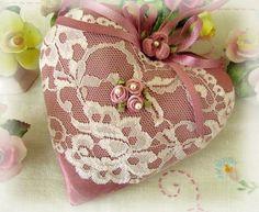 Heart Pillow 6 X 6 Door Hanger, Rose Moire' Decorator Fabric, Lace Trim, Cloth Handmade CharlotteStyle Decorative Folk Art