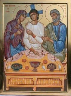 Holy Family icon by Aidan Hart, depicting Jesus as a young man! Religious Images, Religious Icons, Religious Art, Byzantine Icons, Byzantine Art, Catholic Art, Catholic Saints, Russian Icons, Biblical Art