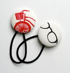 Hipster Hair Tie Set  Bicycles with Baskets and cool black spectacles x