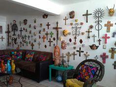 Huge wooden cross art piece crosses barn boart junk metal flowers mexico mexican devil masks chiapas jaguar angels forja san cristobal de las casas mexico