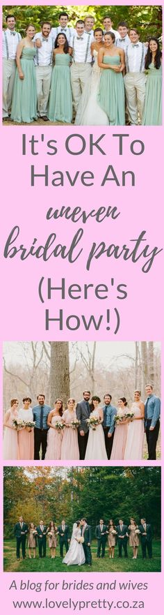Having more bridesmaids than groomsmen (or vice versa) is totally ok. You just have to be creative!   Lovely Pretty   A blog for brides and wives