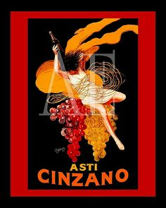 VINTAGE POSTER ART ~ Cappiello ~ ASTI CINZANO Champagne    #TuscanyAgriturismoGiratola