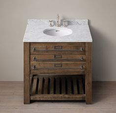"""Restoration Hardware Early 20th C. Mercantile Single Vanity Sink $2195 DIMENSIONS Single Vanity Sink with Top: 36""""W x 24""""D x 34""""H Single Vanity Base: 36""""W x 24""""D x 32½""""H $2195    W/ stone top: Special $1975 W/OUT stone top: Reg $1,099   Special $989 ITEM#23830777 AOAK"""