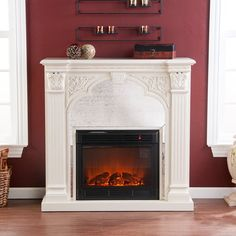 Shop StudioLX for your Holly & Martin Andorra Electric Fireplace-Ivory in our Freestanding Fireplaces department. With fluted columns and intricate carved accents, this elegant fireplace marries romance and modern convenience. Gel Fireplace, Fireplace Doors, Bedroom Fireplace, White Fireplace, White Electric Fireplace, Wall Mount Electric Fireplace, Electric Fireplaces, Indoor Fireplaces, Fluted Columns
