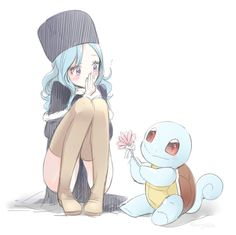 Juvia (Fairy Tail) and Squirtle (Pokémon) crossover