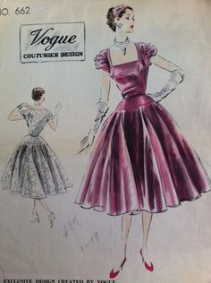 1951 Vogue Couturier Design 662 Party Dress size14/32 sold 8/31/13 for 47.88+2