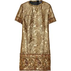 Lanvin Embellished metallic brocade dress (12.105 RON) ❤ liked on Polyvore featuring dresses, vestidos, lanvin, short dresses, gold, mini, short beaded cocktail dresses, short mini dress, sequin cocktail dresses and mini dress