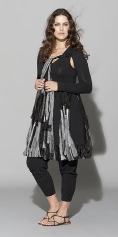 "Hebbeding Summer 2012 Black With White Print ""Currant"" Bolero Jacket-Hebbeding, lagenlook, how cute is this!"