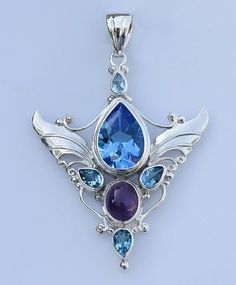 Blue topaz and amethyst sterling silver pendant by Shankari