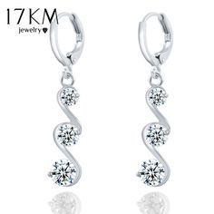 17KM Charming Crystal S shape Long Earrings For Women Silver Color Zircon Earrings Christmas Gift Jewelry Accessory brincos