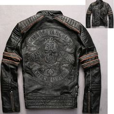 Black Embroidered Skull Leather Gothic Punk Motorcycle Bomber Jacket SKU-116220