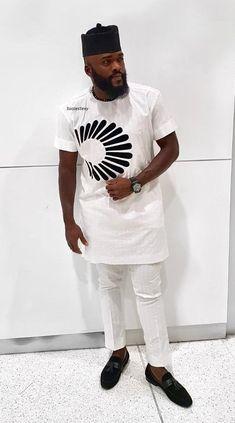 Men's African Wear White with Black Design African Latest African Wear For Men, African Shirts For Men, African Dresses Men, African Attire For Men, African Clothing For Men, Nigerian Men Fashion, African Men Fashion, Mens Fashion, Man Dress Design