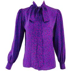 Preowned Yves St Laurent Ysl Rive Gauche Bow Tie Blouse Purple Silk... ($295) ❤ liked on Polyvore featuring tops, blouses, purple, silk tie blouse, purple silk blouse, long sleeve bow tie blouse, long sleeve tops and silk top