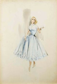 """costume sketch for Grace Kelly in """"High Society"""" by Helen Rose, I wish shirtwaist dresses with crinolines would make a comeback. Women look so feminine in a full skirt. Hollywood Fashion, Mode Hollywood, Costume Hollywood, Vintage Hollywood, Hollywood Actresses, Vintage Fashion Sketches, Fashion Design Sketches, Fashion Vintage, Vintage Outfits"""