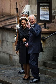 Queen Silvia and King Carl XVI Gustaf of Sweden depart after attending service at the Church of St. Nicholas in connection with the opening of the parliamentary session on September 15, 2015 in Stockholm, Sweden.