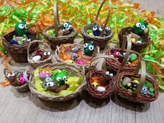 Easter Baskets polymer clay fimo sculpey cute kawaii cactus plant monster bunny chick worm egg