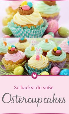 Cupcakes zu Ostern ganz leicht backen mit unserem Rezept. #ostern #backen #cupcakes Pavlova, Mini Muffins, Mini Cupcakes, Easter, Food, Diy Baby, Beauty, Food Ideas, Treats