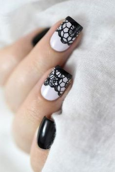The best DIY projects & DIY ideas and tutorials: sewing, paper craft, DIY. DIY & Tips Nails Art 2017 / 2018 Black lace nail art tutorial. Lace Nail Design, Lace Nail Art, White Nail Designs, Cool Nail Art, Nail Art Designs, Nails Design, Sexy Nail Art, Sexy Nails, Hair Designs