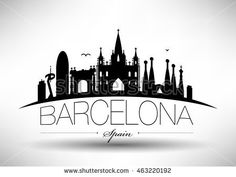 Vector Barcelona City Skyline Design