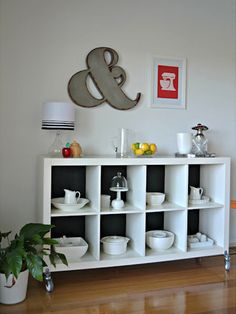 Buffet Display - can't get over how chic this is. Love the colors! http://www.ivillage.com/ways-stage-your-ikea-expedit-bookshelf/7-a-547912