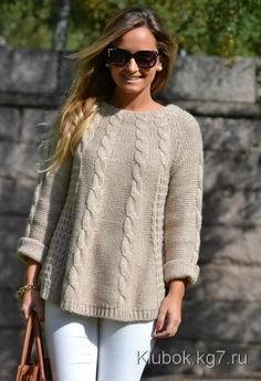 Pullover tunic knitting pattern cable wool sweater is handmade Knit Jacket, Knitting Designs, Mode Style, Cable Knit Sweaters, Women's Sweaters, Hand Knitting, Knitwear, Knit Crochet, Knitting Patterns