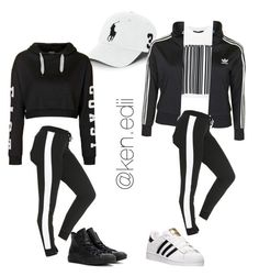 """""""Back and White"""" by kennedii on Polyvore featuring Polo Ralph Lauren, Topshop, Converse, Alexander Wang, adidas, women's clothing, women, female, woman and misses"""