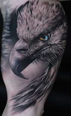 Realistic eagle on mans arm. Artist Maris Pavlo.