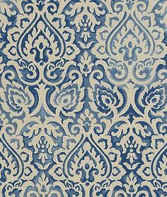 The uneven color, which mimics natural fading, is what gives this fabric its character. Waverly Parterre Sun N Shade Indigo fabric. Damask Curtains, Damask Decor, Fabric Decor, Blue And White Fabric, White Fabrics, Blue Fabric, Blue Gingham, Curtain Patterns, Textile Patterns