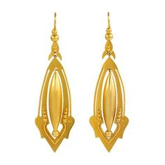 Victorian Gold Pendant Earrings by