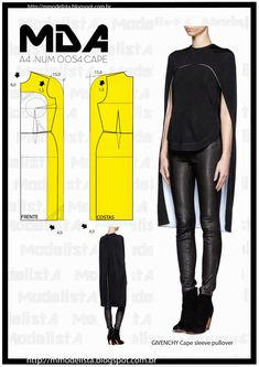 new Ideas sewing patterns blouse simple Fashion Sewing, Diy Fashion, Ideias Fashion, Fashion Cape, Blouse Patterns, Clothing Patterns, Sewing Patterns, Diy Clothing, Sewing Clothes