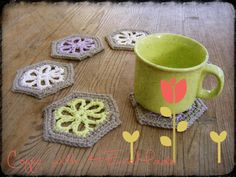 Excited to share the latest addition to my #etsy shop: Coffee coasters rustic coaster set pastel floral kitchen decor drink barware drinkware recycled cotton https://etsy.me/2rH8dxP #housewares #coaster #gray #housewarming #rainbow #fabric #coffeecoasters #rusticcoaste