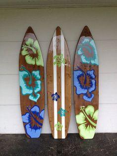 THREE of my 6 foot wood Hawaiian Surfboard Wall Art Decor or Headboard kids room Wood base color Surfboard Painting, Surfboard Decor, Surf Decor, Wall Art Decor, Surfboard Drawing, Diy Wood Wall, Wood Art, Kids Room Paint, Kids Rooms