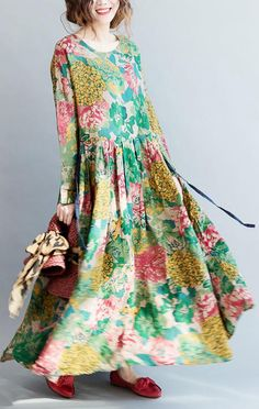 2019 Uoozee Look Page 3 uoozee - Plus Size Fall Dresses - Ideas of Plus Size Fall Dresses # linnen jurken 2019 National Style Flower Printed Long Dress Long Linen Dresses, Long Summer Dresses, Plus Size Maxi Dresses, Fall Dresses, Cotton Dresses, Plus Size Outfits, Casual Dresses, Maxi Robes, Caftan Dress