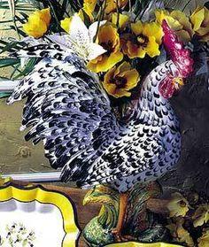 Handmade Italian Ceramic Speckled Black White Rooster w Vase Cachepot