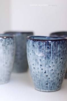 Love this speckled blue pottery glaze // imagine all the things you could do with these lovely cups/glasses/vases, whatever you want them to be Pottery Mugs, Ceramic Pottery, Blue Pottery, Earthenware, Stoneware, Azul Niagara, Keramik Design, Terracota, Ceramic Clay